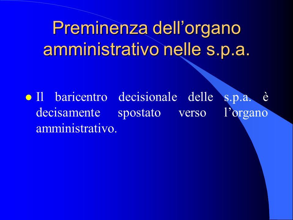 Preminenza dell'organo amministrativo nelle s.p.a.