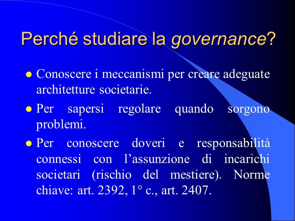 Perché studiare la governance