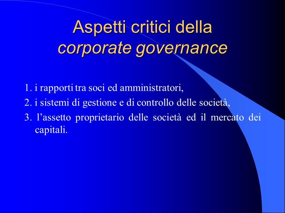 Aspetti critici della corporate governance