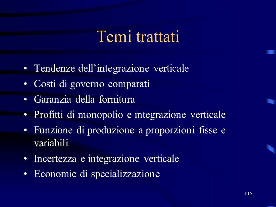 Temi trattati Tendenze dell'integrazione verticale