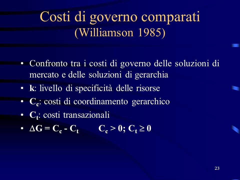 Costi di governo comparati (Williamson 1985)