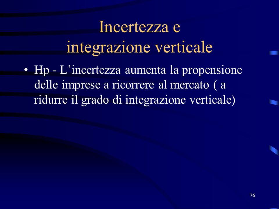 Incertezza e integrazione verticale