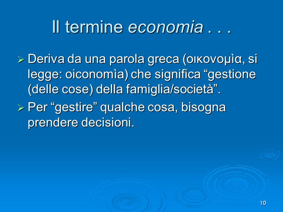Il termine economia . . . Deriva da una parola greca (οικονομìα, si legge: oiconomìa) che significa gestione (delle cose) della famiglia/società .