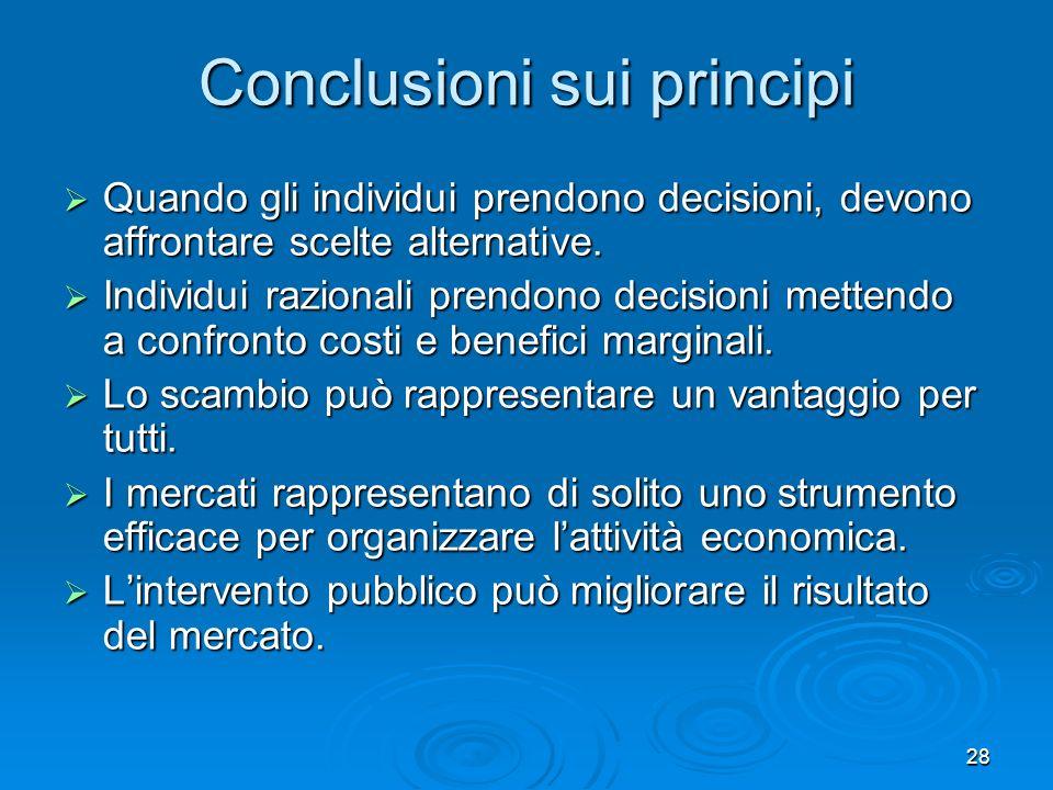 Conclusioni sui principi