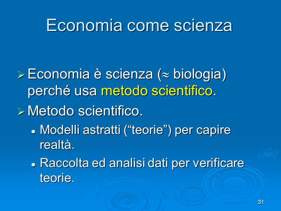 Economia come scienza Economia è scienza ( biologia) perché usa metodo scientifico. Metodo scientifico.