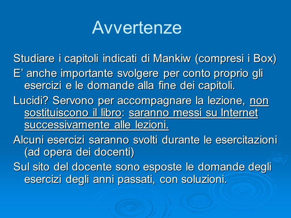 Avvertenze Studiare i capitoli indicati di Mankiw (compresi i Box)