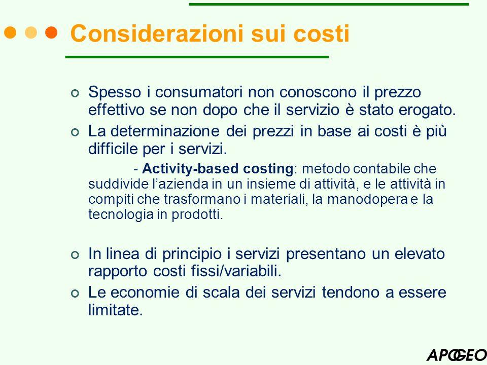 Considerazioni sui costi
