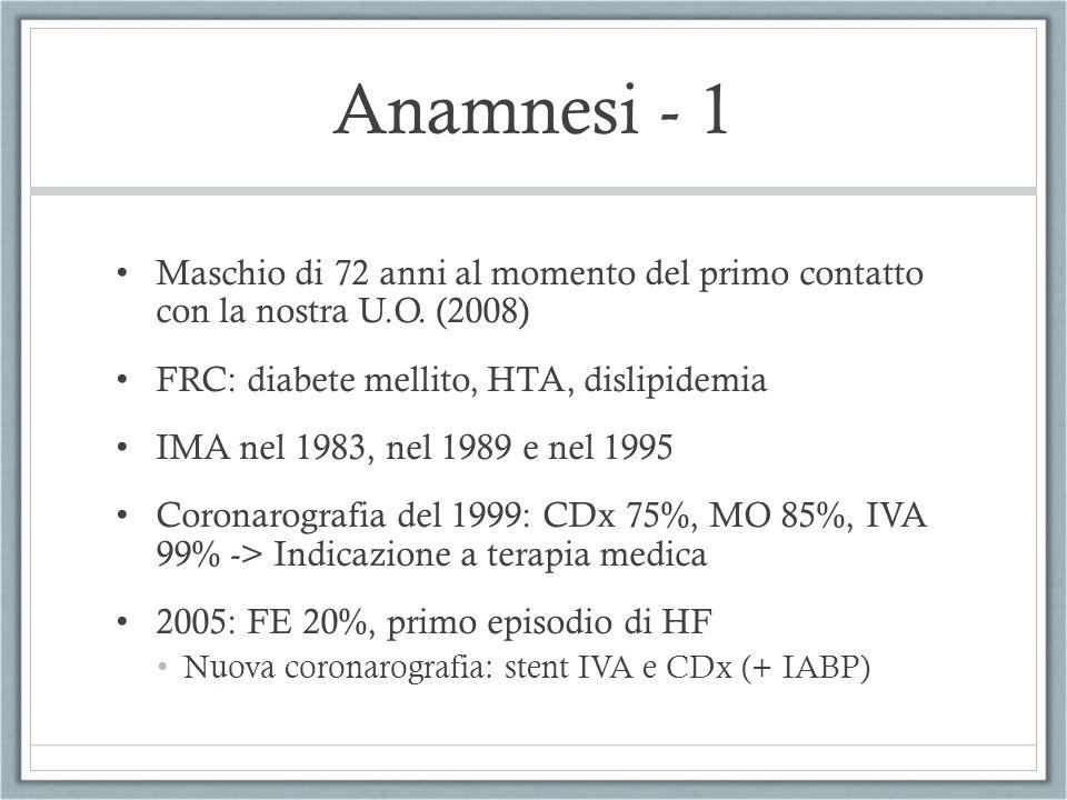 Anamnesi - 1 Maschio di 72 anni al momento del primo contatto con la nostra U.O. (2008) FRC: diabete mellito, HTA, dislipidemia.