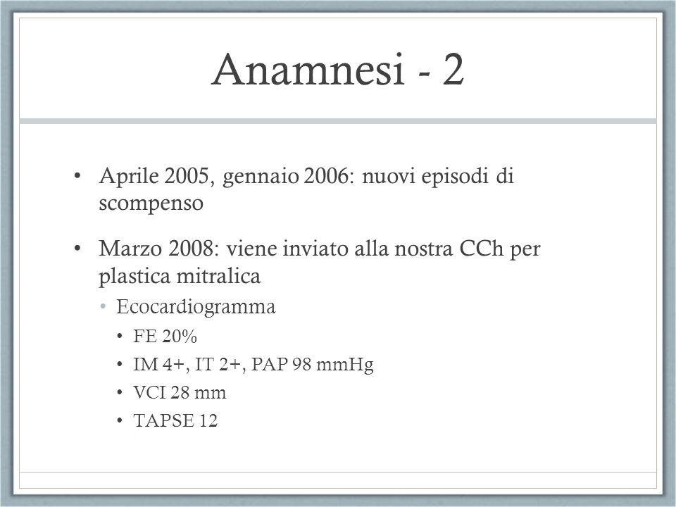 Anamnesi - 2 Aprile 2005, gennaio 2006: nuovi episodi di scompenso