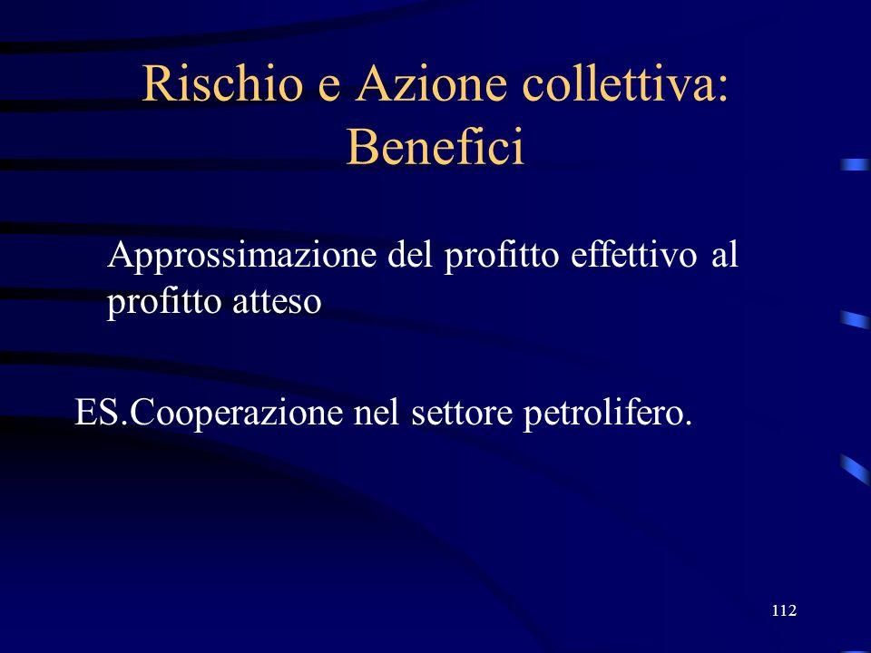 Rischio e Azione collettiva: Benefici