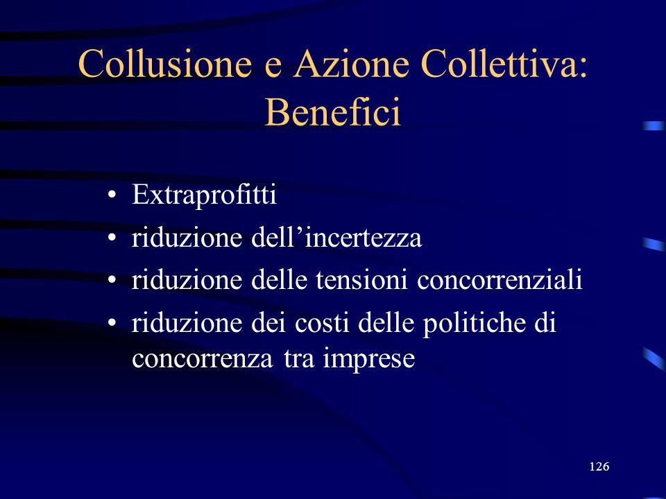 Collusione e Azione Collettiva: Benefici