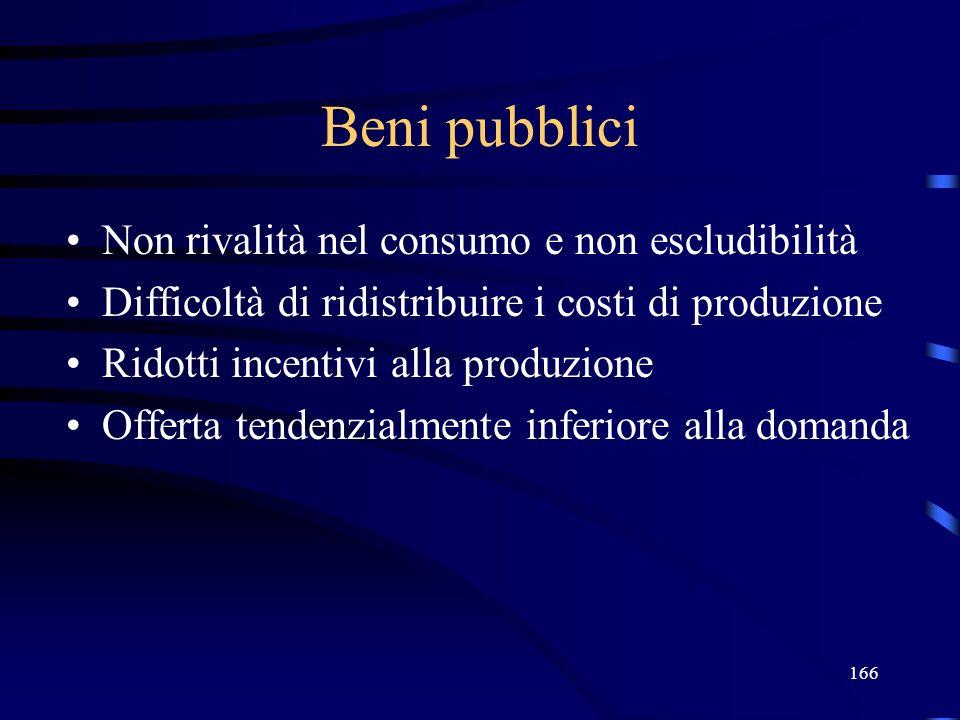 Beni pubblici Non rivalità nel consumo e non escludibilità