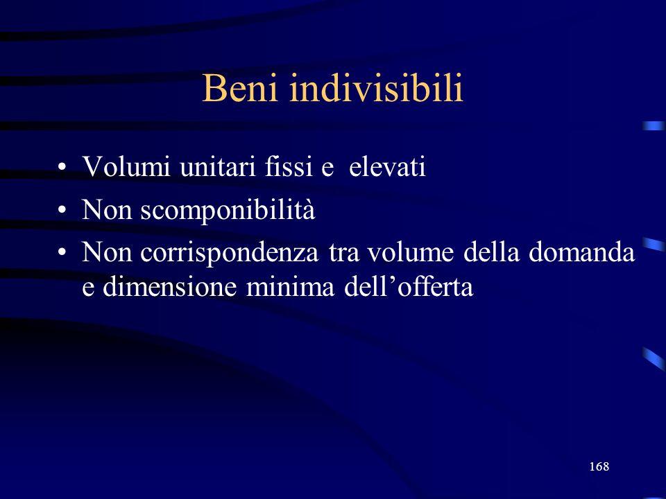 Beni indivisibili Volumi unitari fissi e elevati Non scomponibilità