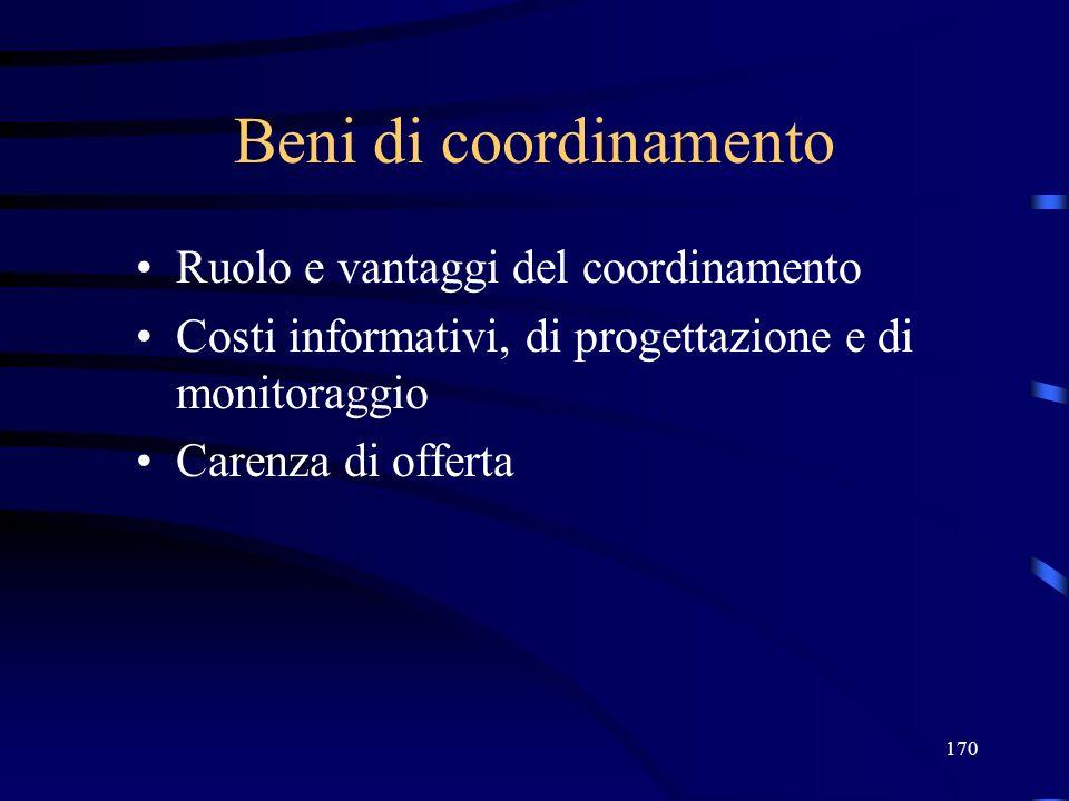 Beni di coordinamento Ruolo e vantaggi del coordinamento