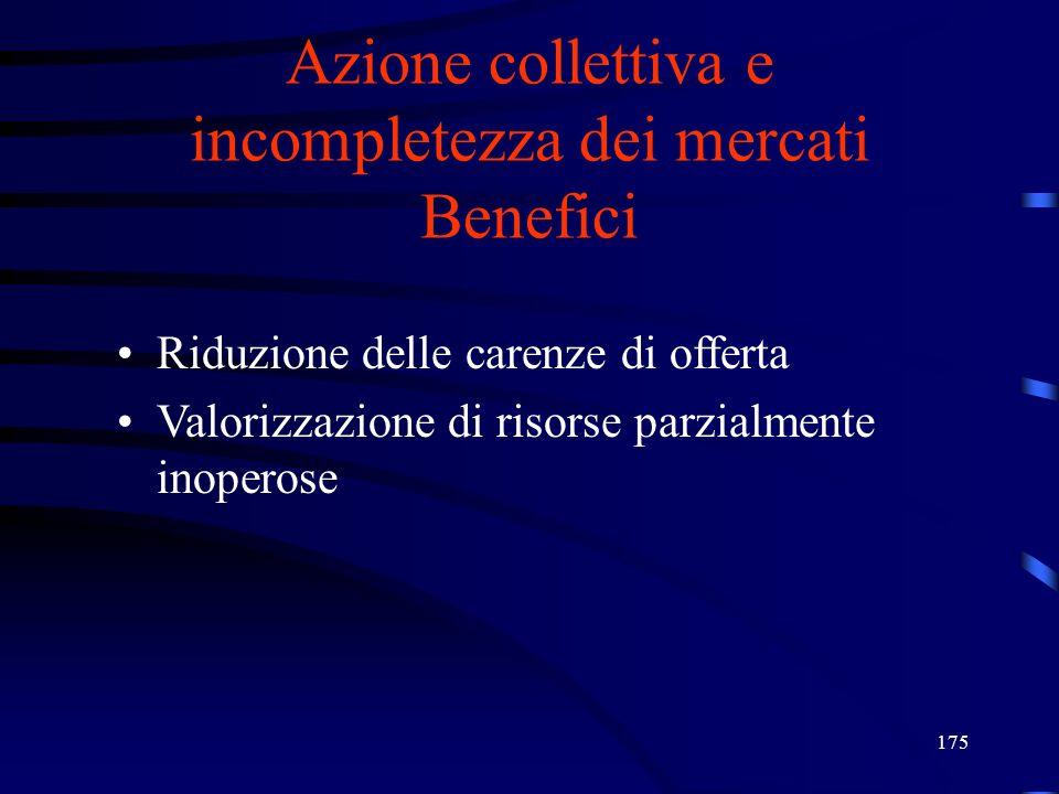 Azione collettiva e incompletezza dei mercati Benefici