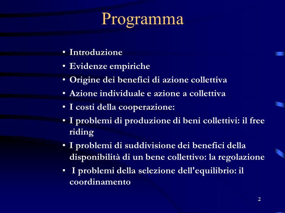 Programma Introduzione Evidenze empiriche