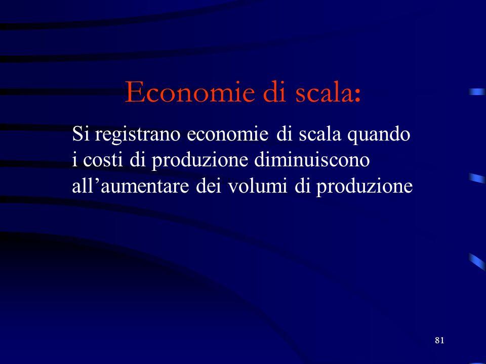27/03/2017 Economie di scala: Si registrano economie di scala quando i costi di produzione diminuiscono all'aumentare dei volumi di produzione.
