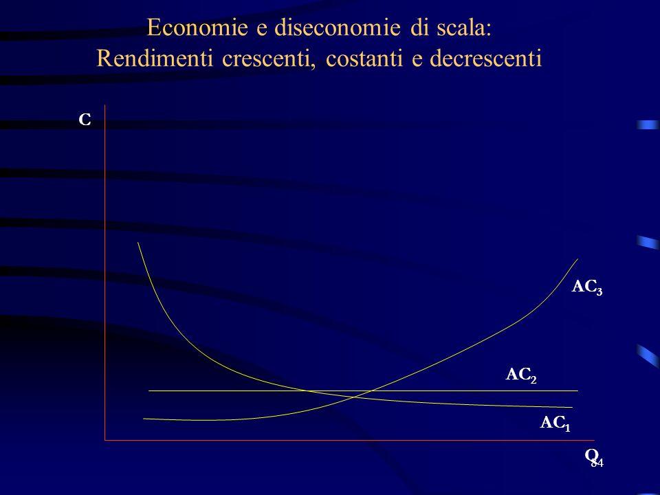 Economie e diseconomie di scala: Rendimenti crescenti, costanti e decrescenti
