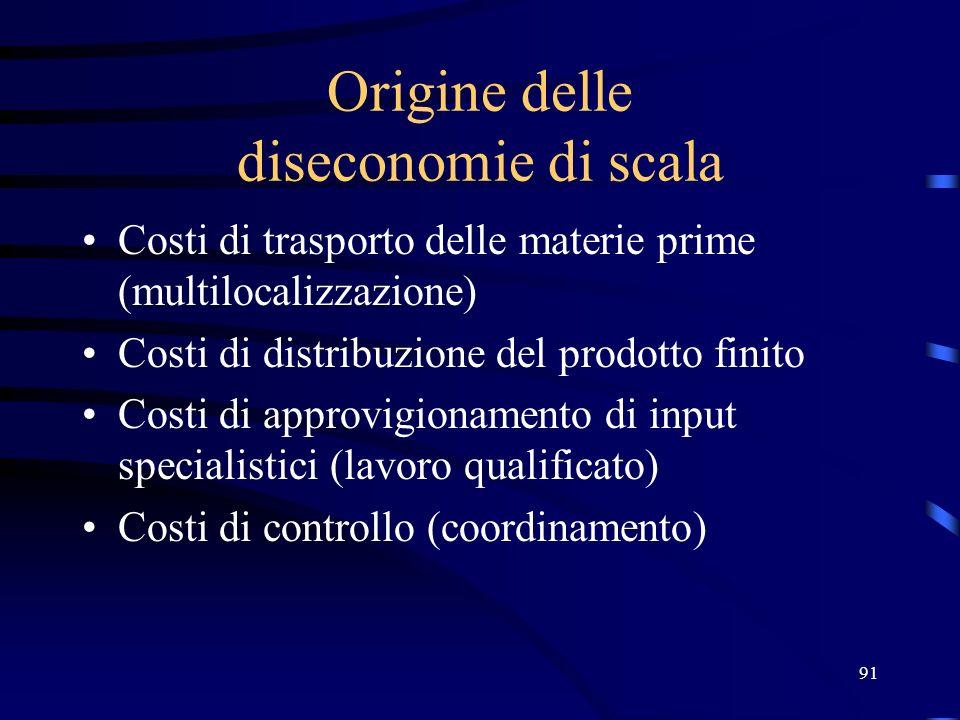 Origine delle diseconomie di scala