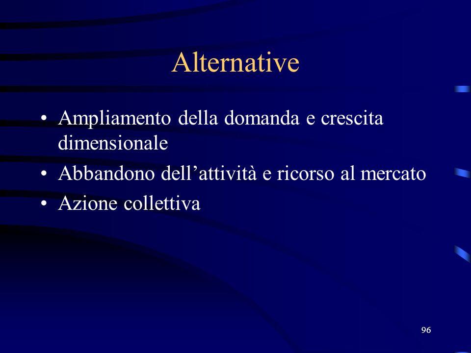 Alternative Ampliamento della domanda e crescita dimensionale