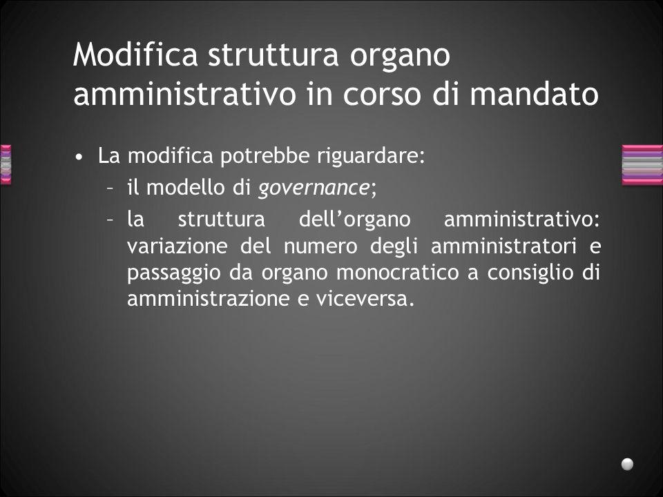 Modifica struttura organo amministrativo in corso di mandato