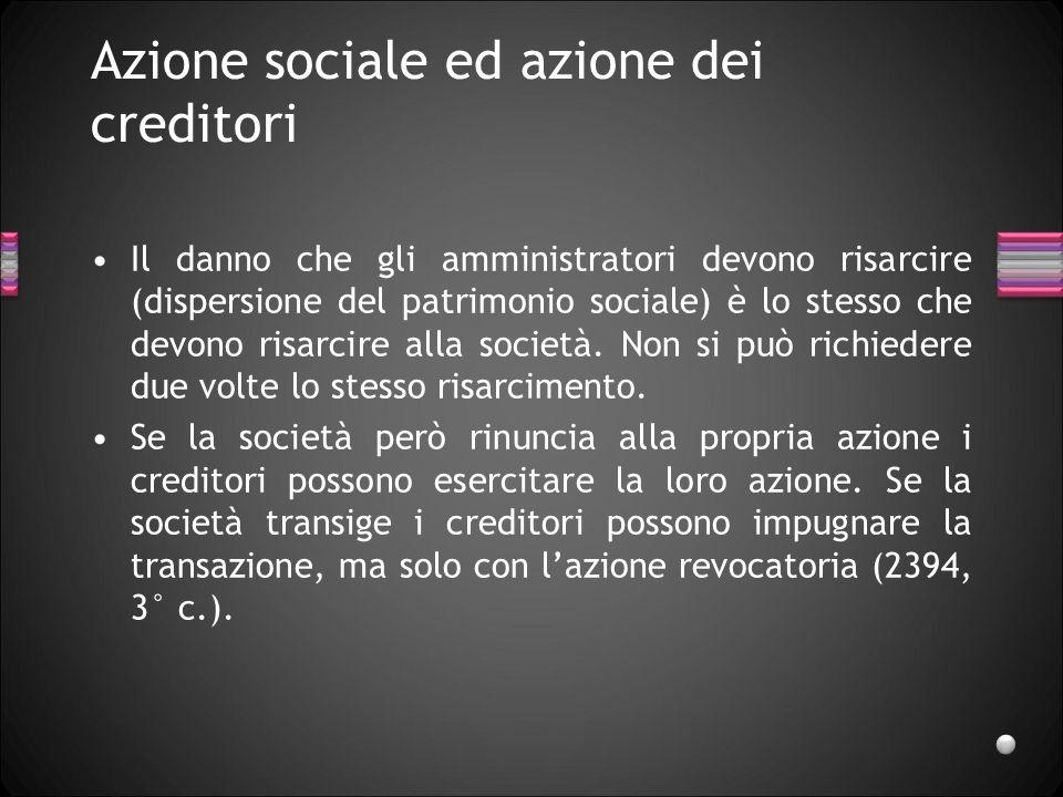Azione sociale ed azione dei creditori