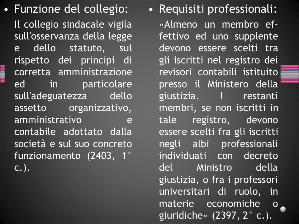 Funzione del collegio: Requisiti professionali: