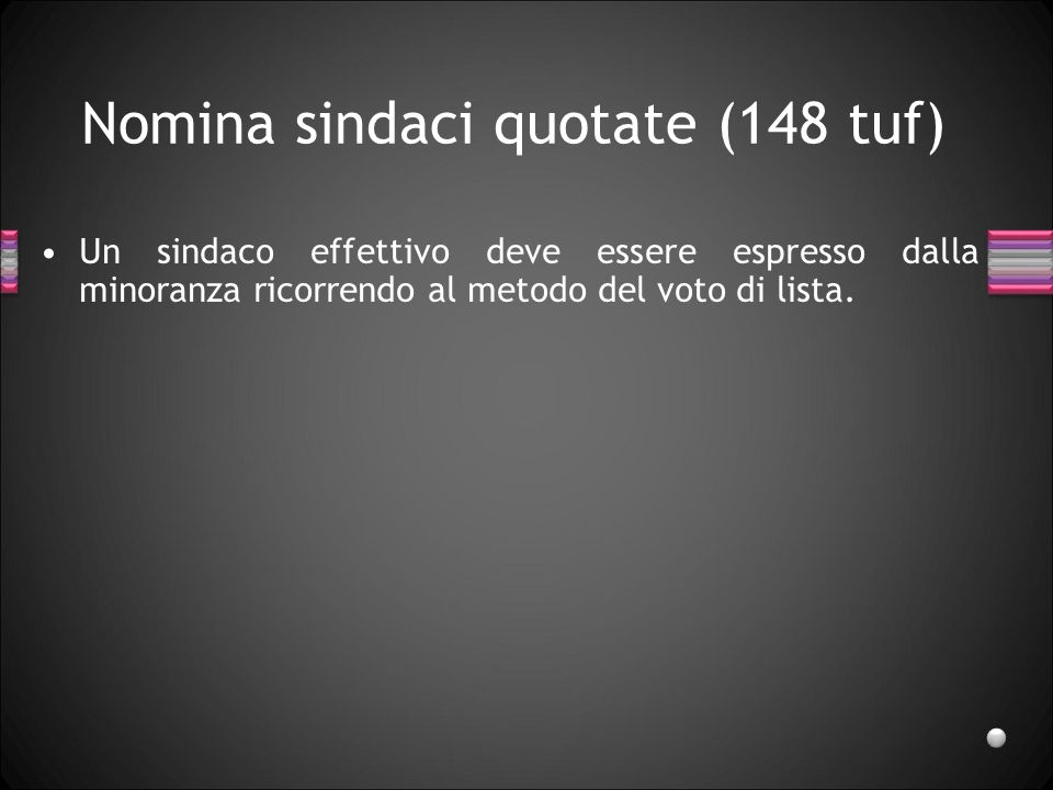 Nomina sindaci quotate (148 tuf)