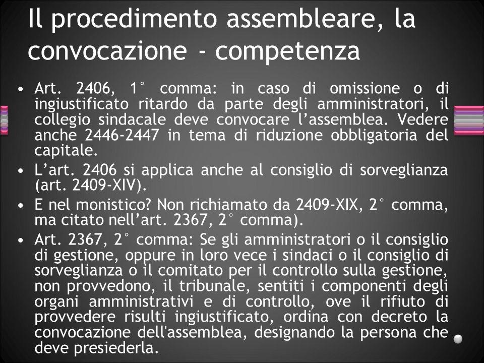 Il procedimento assembleare, la convocazione - competenza