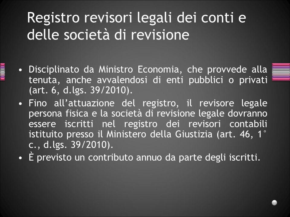 Registro revisori legali dei conti e delle società di revisione