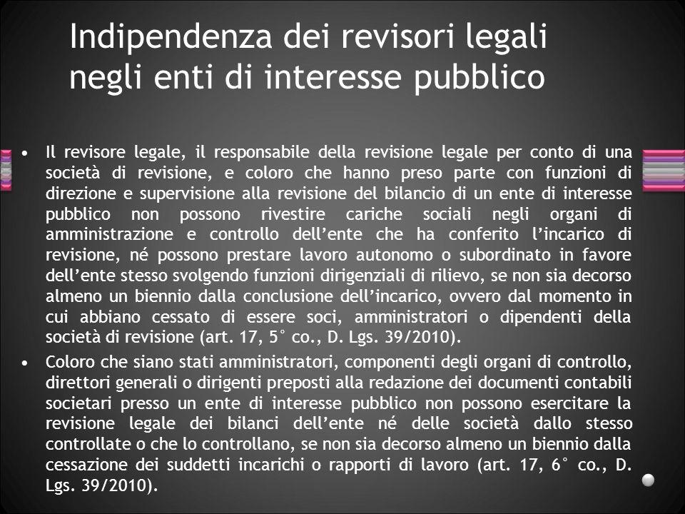 Indipendenza dei revisori legali negli enti di interesse pubblico