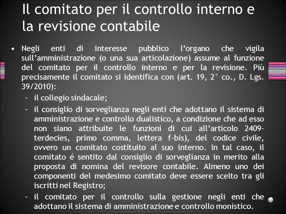Il comitato per il controllo interno e la revisione contabile