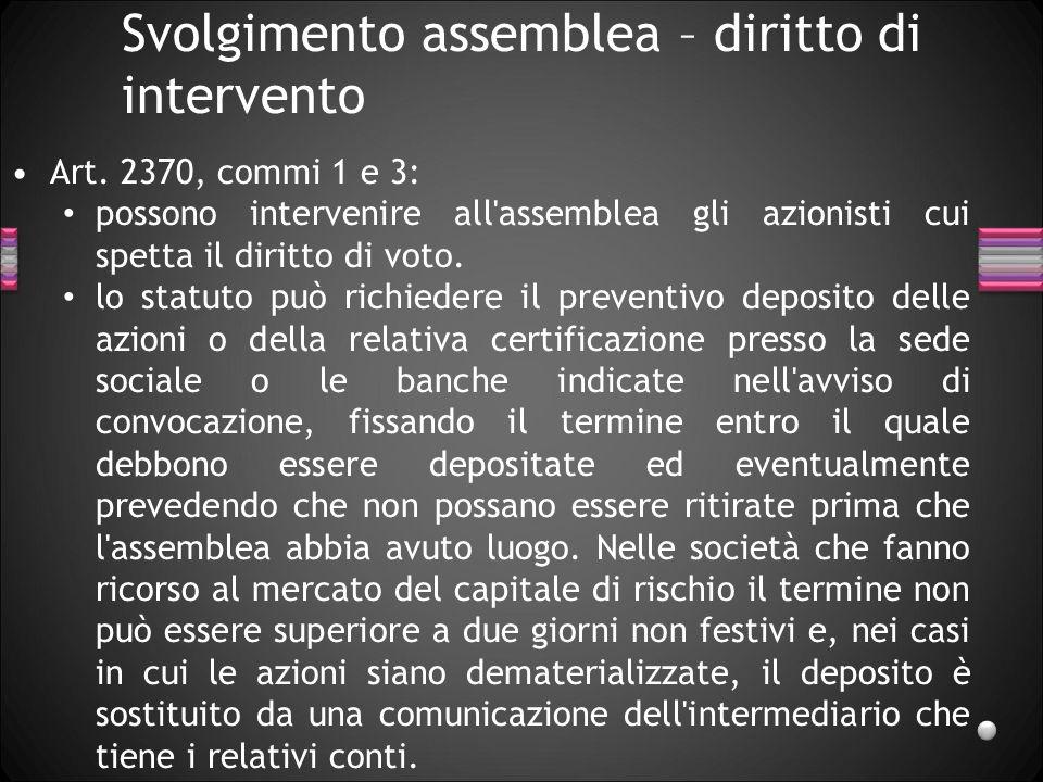 Svolgimento assemblea – diritto di intervento