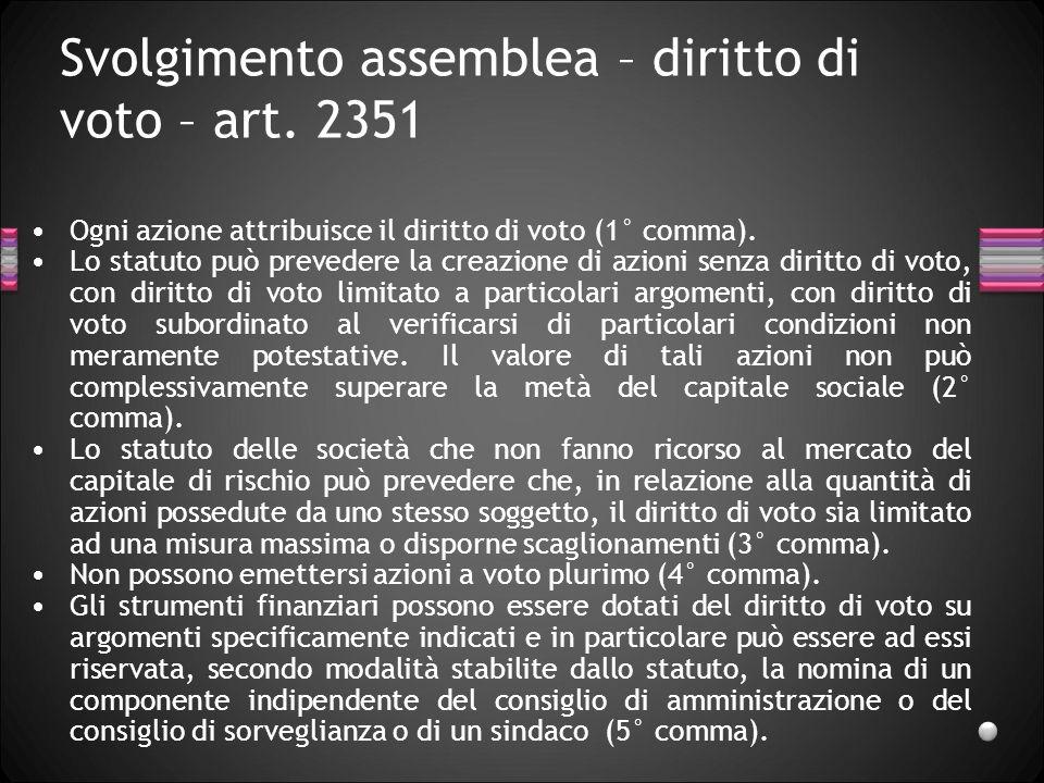 Svolgimento assemblea – diritto di voto – art. 2351