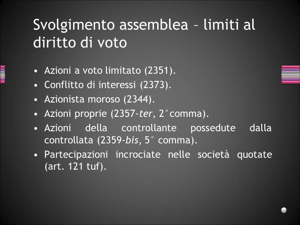 Svolgimento assemblea – limiti al diritto di voto