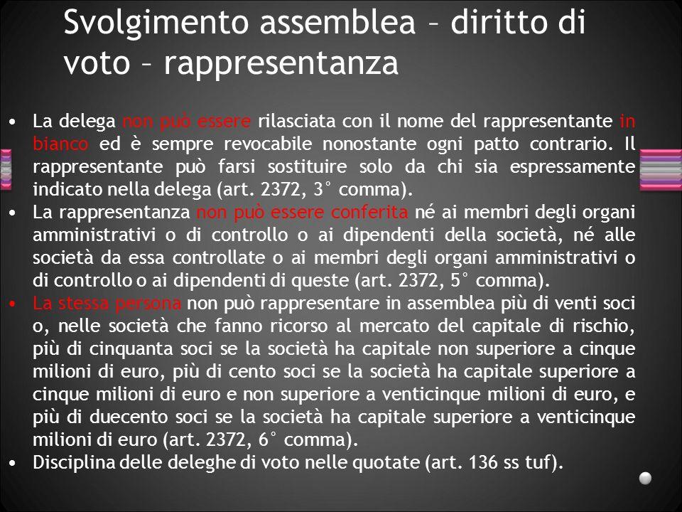 Svolgimento assemblea – diritto di voto – rappresentanza