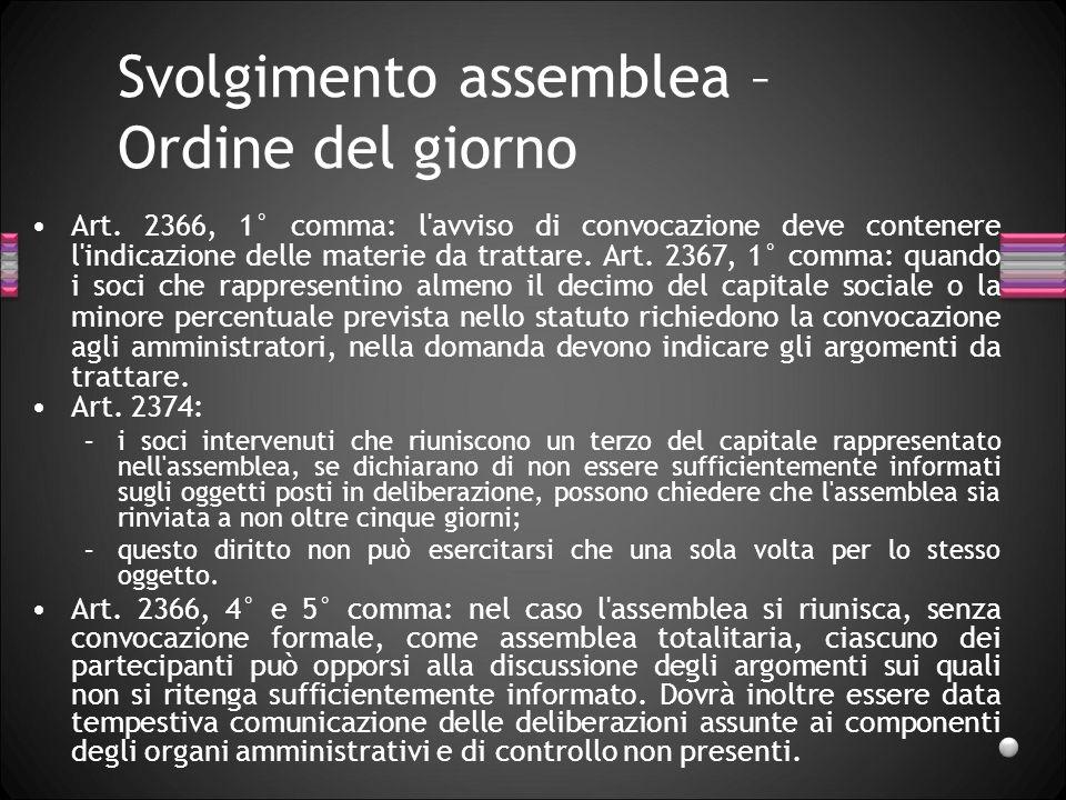 Svolgimento assemblea – Ordine del giorno
