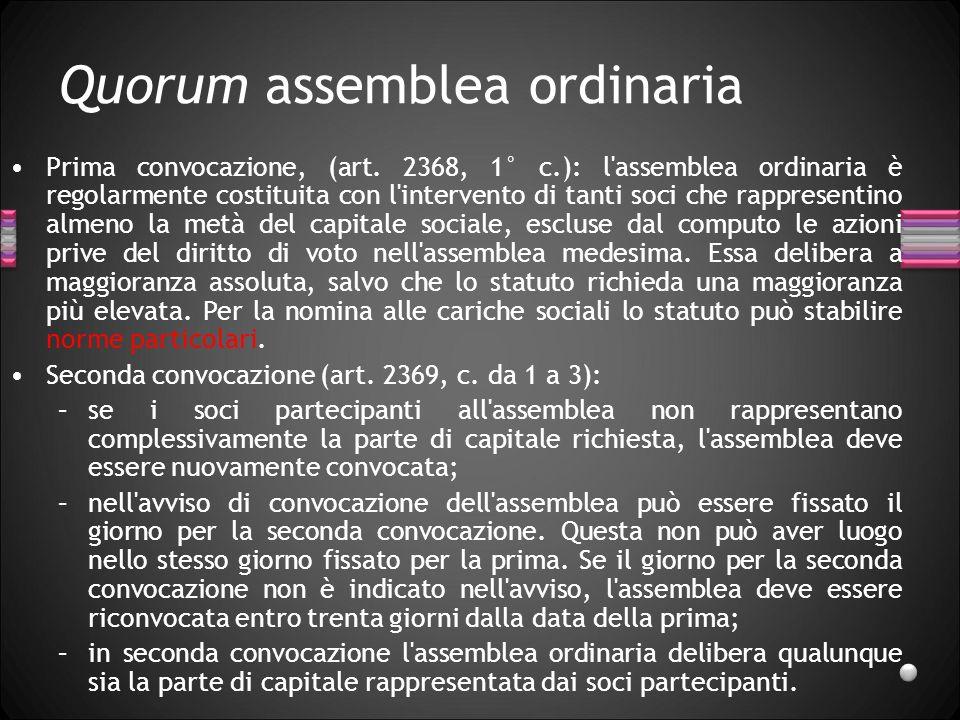Quorum assemblea ordinaria