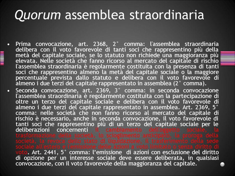 Quorum assemblea straordinaria