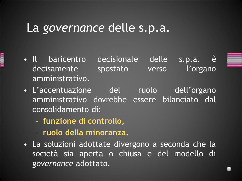 La governance delle s.p.a.