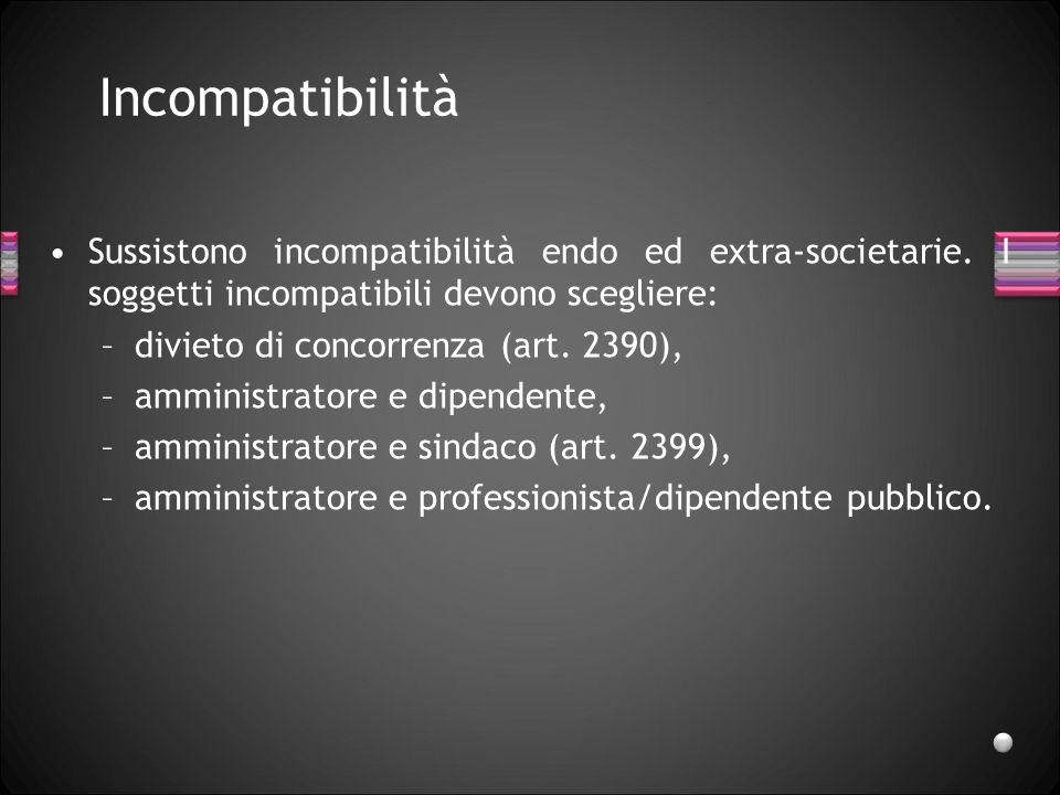 IncompatibilitàSussistono incompatibilità endo ed extra-societarie. I soggetti incompatibili devono scegliere: