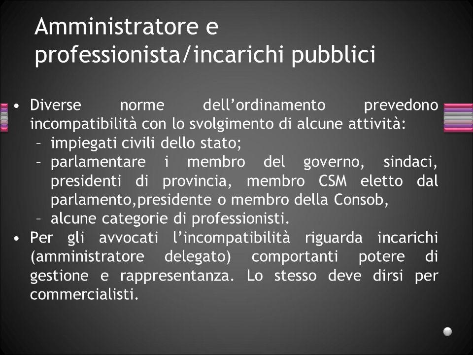 Amministratore e professionista/incarichi pubblici