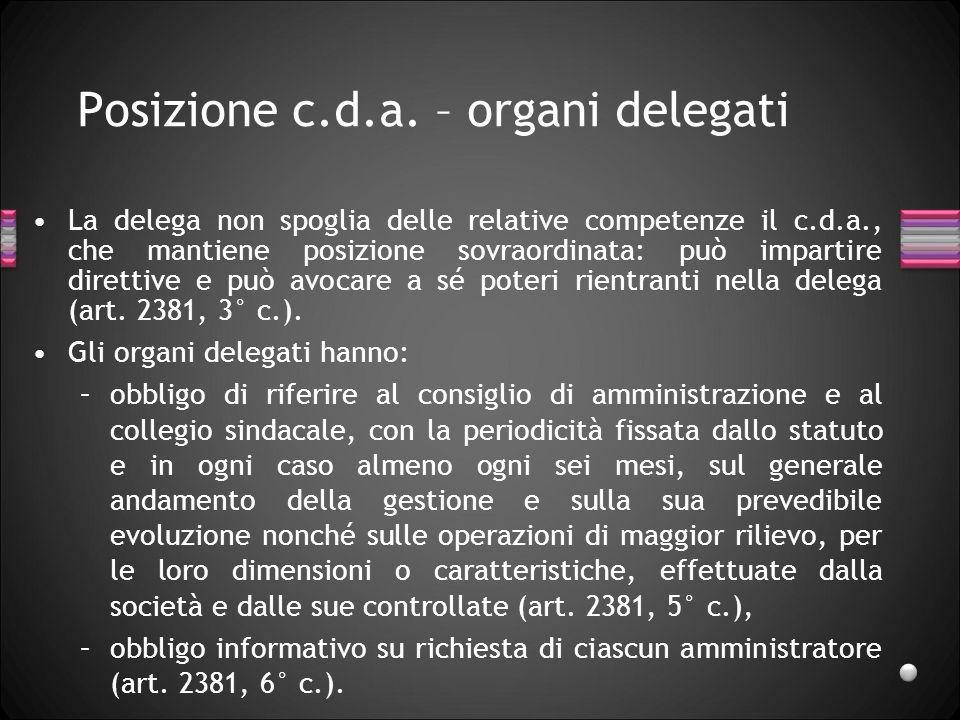Posizione c.d.a. – organi delegati