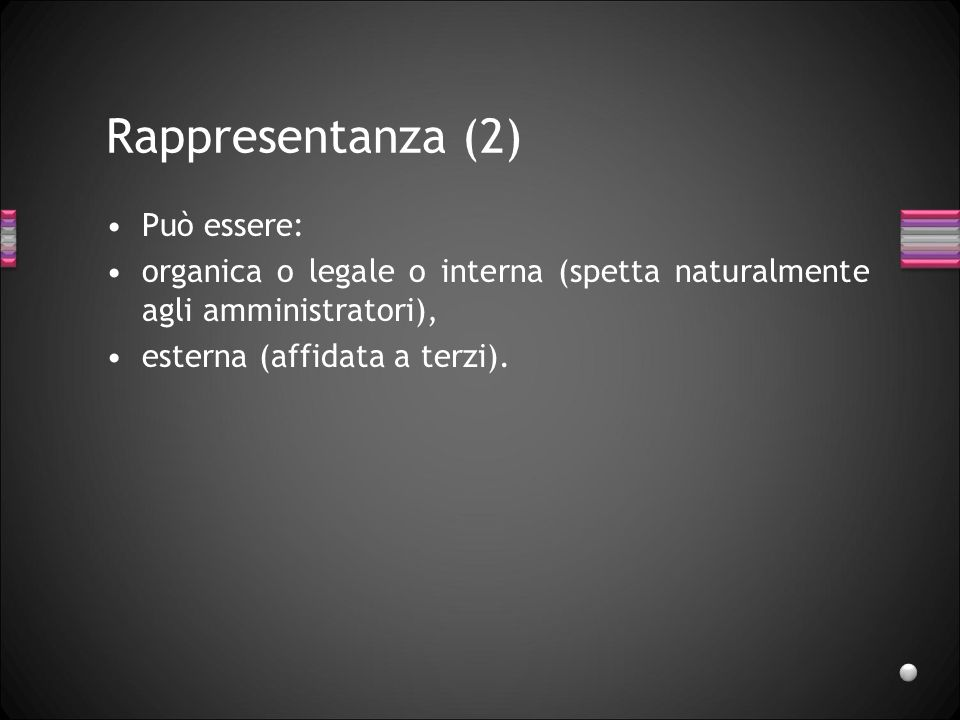Rappresentanza (2) Può essere: