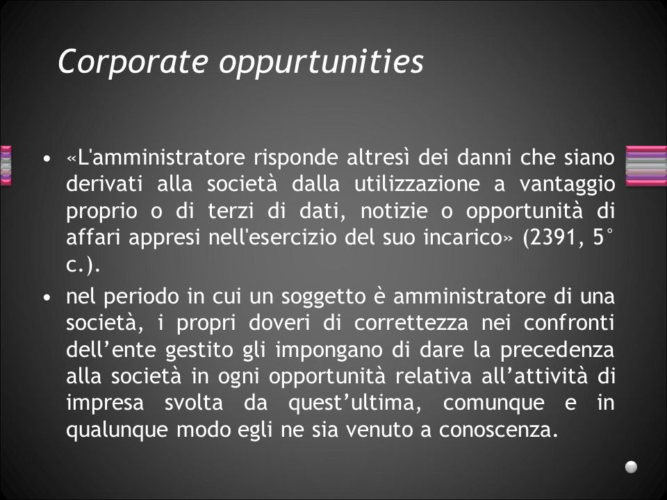 Corporate oppurtunities
