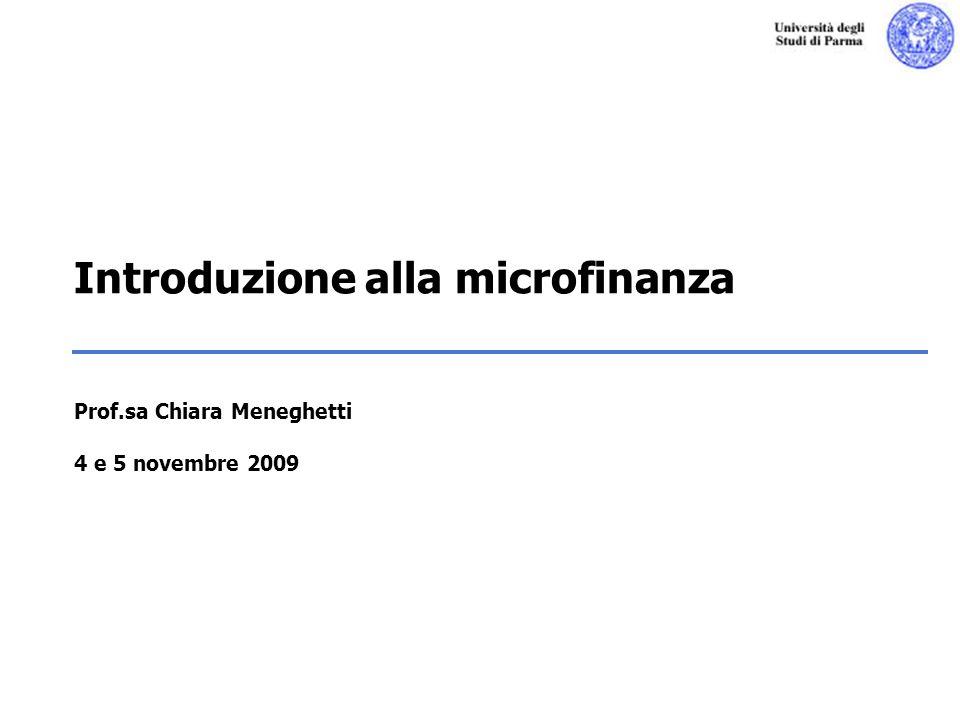 Introduzione alla microfinanza Prof