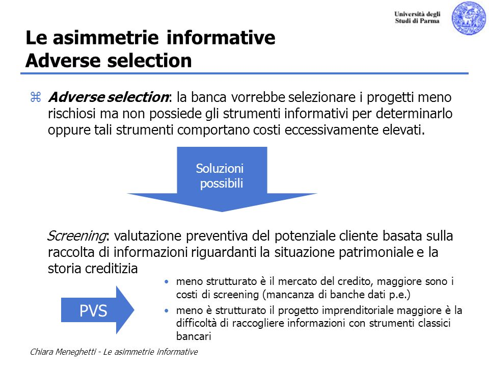 Le asimmetrie informative Adverse selection