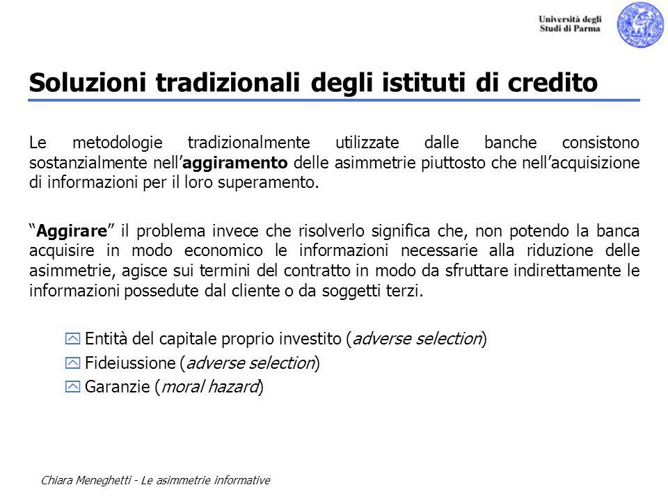 Soluzioni tradizionali degli istituti di credito