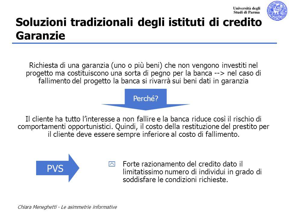 Soluzioni tradizionali degli istituti di credito Garanzie