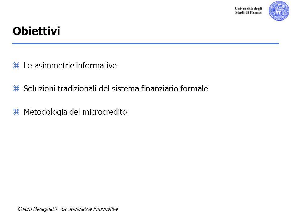 Obiettivi Le asimmetrie informative